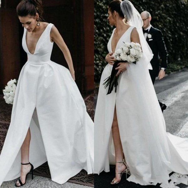 Deep V Neck Satin Wedding Dresses Cheap Long Thigh High Slits
