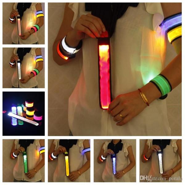 Nylon LED Sports Slap Wrist Strap Band Wristband Light Flash Bracelet Glowing Armband Flare Strap For Party Concert Led Poms Cheer Lighting