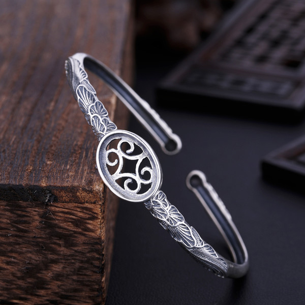 Thai Silver 925 Sterling Silver Women Bracelet 11.7x16.4mm Oval Cabochon Semi Mount Bangle Setting DIY Stone