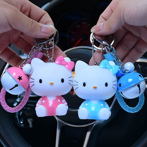 Cute Hello Kitty Cats Key Chain Leather Rope Key Holder Ring Women Fur PomPom Chains Car KeyChains Bag Charm Llavero Pendant