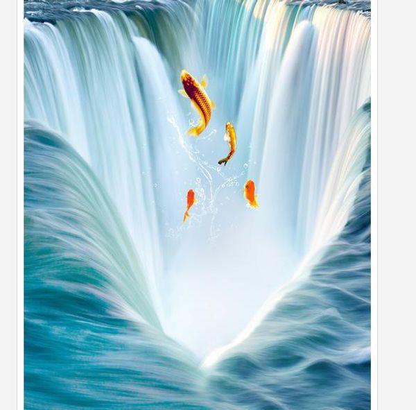 Personnalisé Toute Taille Mur Papier Peint Grande cascade eau 3D carrelage peinture tridimensionnelle TV Toile de Fond Chambre Photo Papier Peint 3D