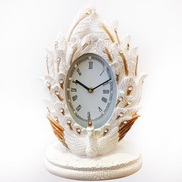 TUDA Livraison Gratuite 10 pouces Élégant Paon Sculpté Résine Table Horloge Style Classique Table Horloge Exquisited Home Decor