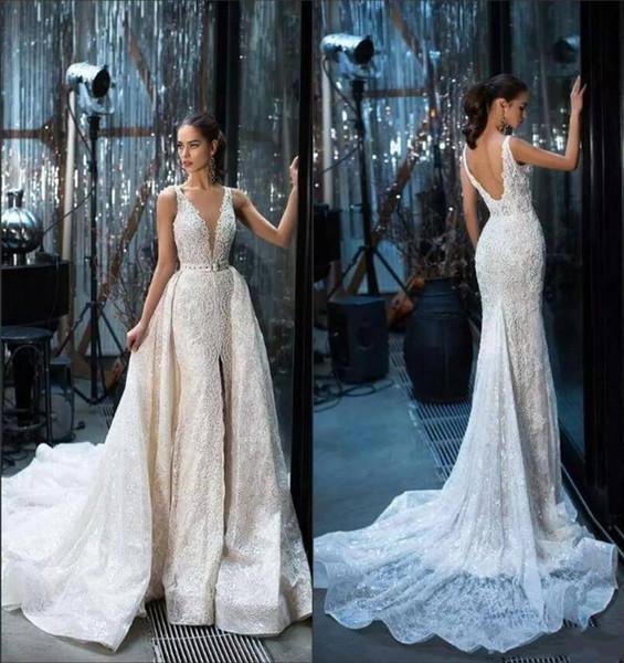 Gorgeous mermaid wedding dresses 2018 V Neck with Detachable Train Split Front French Lace Vestido De Novia plus size wedding dresses