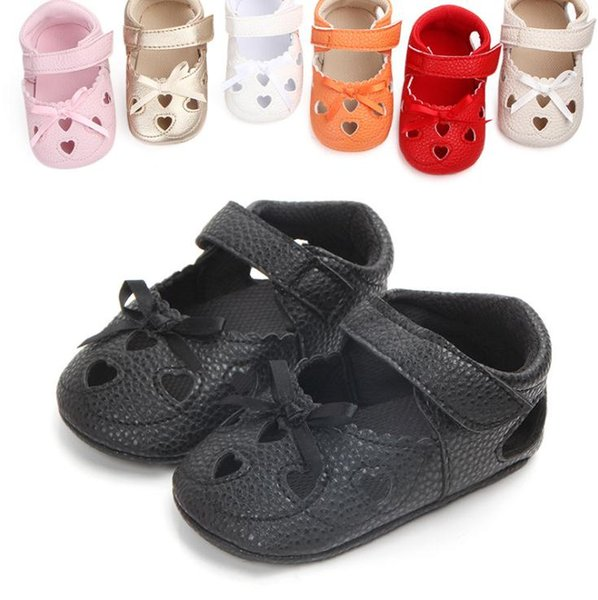 Newborn Baby Girls Leather Sandals Toddler Prewalkers Summer Kids Soft Crib Sole Shoes Girls First Walkers Shoes
