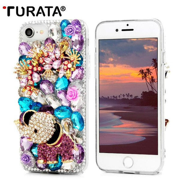 wholesale For iPhone 7 Cover 3D Glitter Crystal Rhinestone Diamond Hard PC Transparent Back Case For iPhone 7 Capa Funda Carcasas