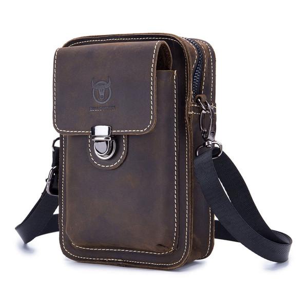 BULLCAPTAIN Genuine Leather Men Shoulder Bags Casual Zipper Small Messenger Bag