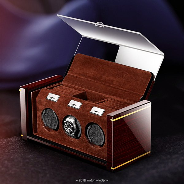 High-end Piano Lacquer Mechanical Watch Winder Solid Wood Box For Automatic Watches Cases With jewelry drawer watches display
