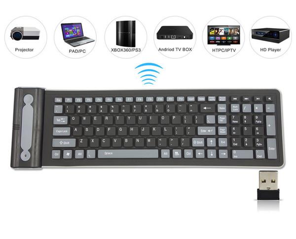 2.4 Г Беспроводная Клавиатура Складная 107 Клавиш Мягкая Силиконовая Резина Водонепроницаемый Гибкая Складная Клавиатура Для Ноутбуков ПК Проектор Slient KeyBoards
