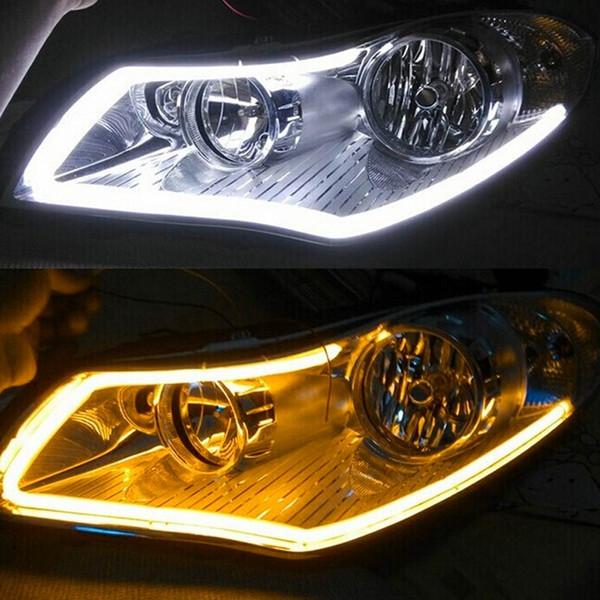 2 Stücke weiß + gelb Flexible Led-streifen Licht 45 cm / 60 cm Auto Weichen Rohr DRL Tagfahrlicht Lampe Signal Licht 12 v