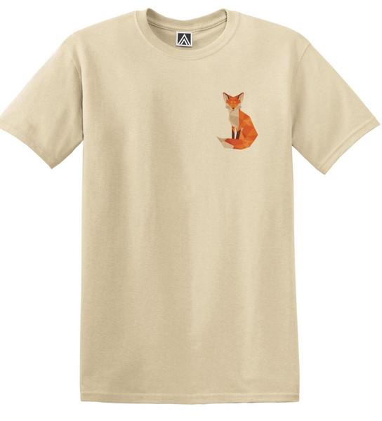 Fox Geometric Chest Print Tshirt Graphic Animal Art Nature Design Tee