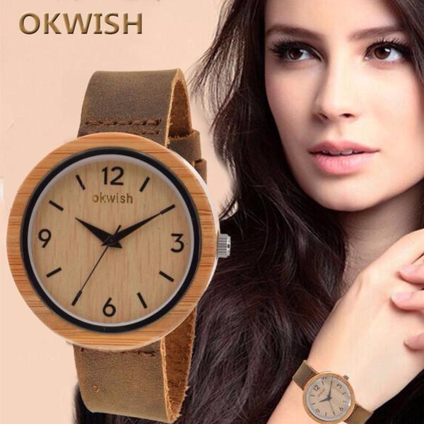 Apuesto Vintage alta calidad relojes de madera de grano de moda reloj de pulsera de cuarzo de las mujeres de regalo