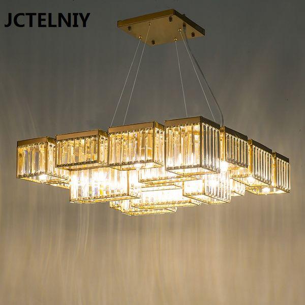 Yeni kristal avize salon işık lüks tasarımcı kristal lamba restoran kare profil çok seviyeli LED ışıkları