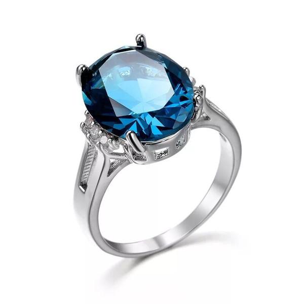 MGFam (241R) Черно-синий цвет Овальные Кольца Циркона Ювелирные Изделия Для Женщин Белый Позолоченный Кубический Циркон