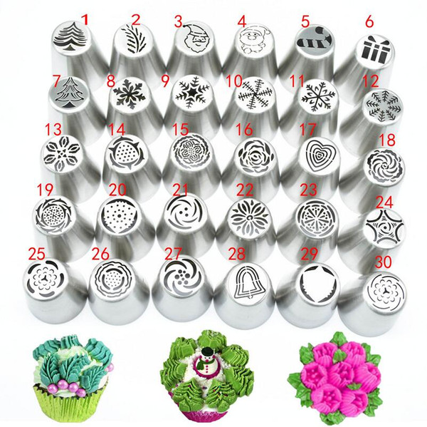 30piece/set Icing Piping Tips Set Christmas Pattern Russian Piping Tips Cake decorating Supplies Russian Nozzles Pastry Tools