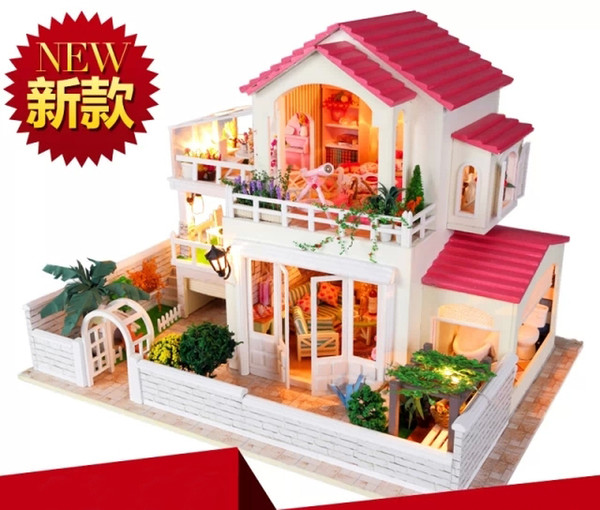 Tiny Times Pastoral style Large scale DIY Doll house 3D Miniature Light+Music box+Wood Handmade kits Building model Decoration