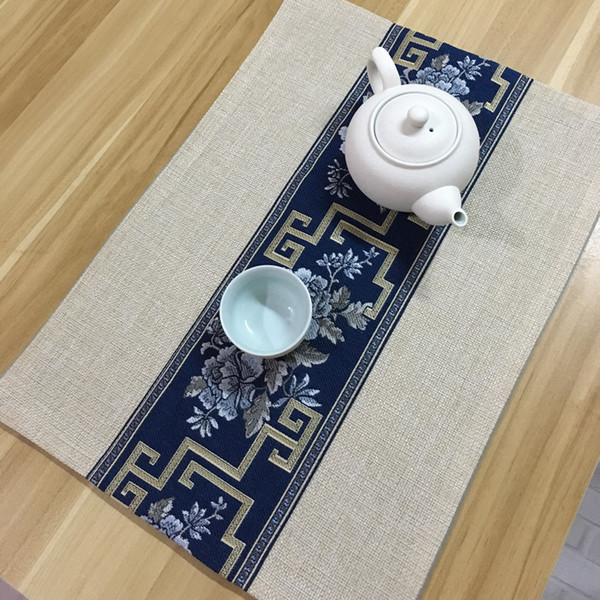 Patchwork Peony Chinese Linen Cloth Placemat Cotton Rectangle Plate Bowl Mat Ethnic Dining Table Mat Coffee Pads 30 x 40cm