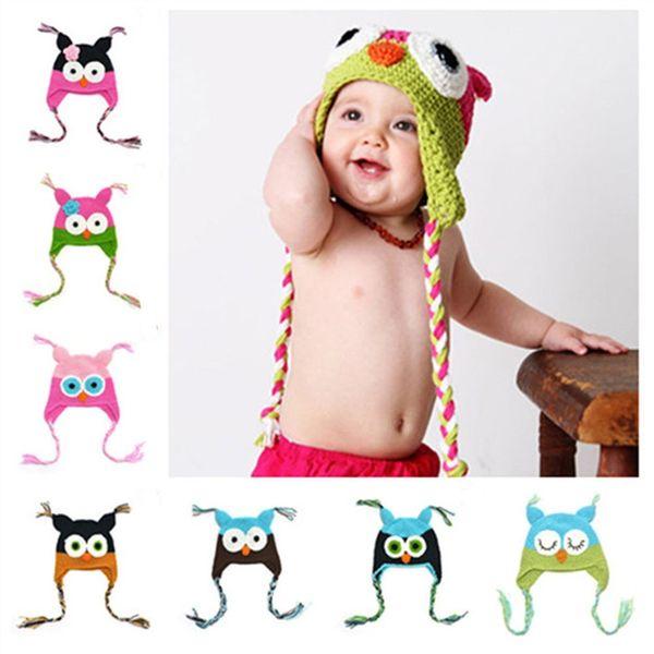 Nueva precioso bebé del patrón de sombrero de invierno para niños pequeños búhos de punto casquillo hecho punto de ganchillo para el niño niños bebé beanies sombreros de algodón C144