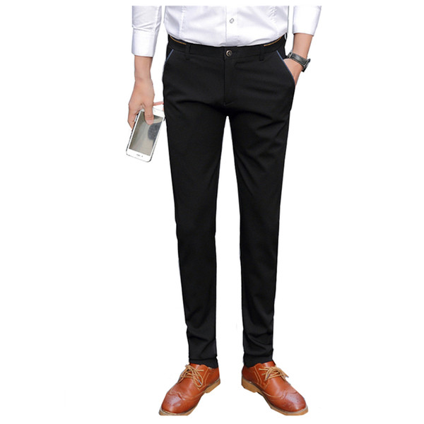 2018 New Men's Black Suit Pants Business Casual Suit Trousers Slim Fit Men Pant Size 28-38