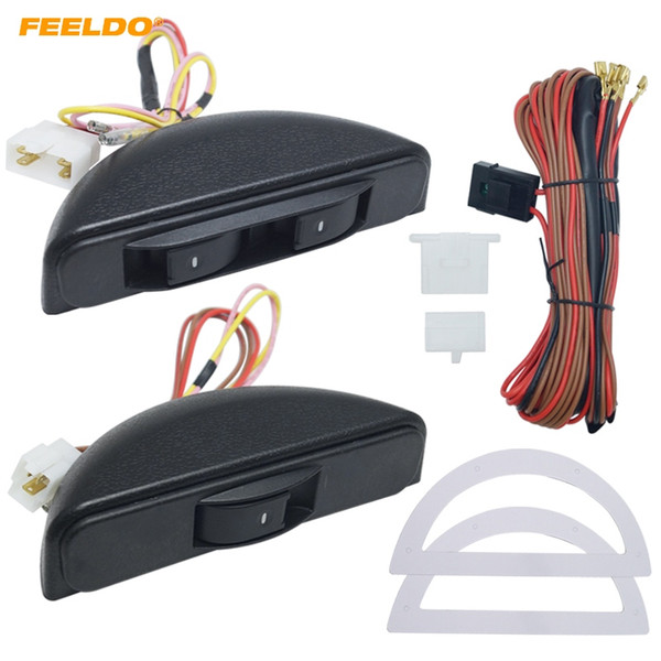 top popular FEELDO Universal Crescent Style Power Window 3pcs switches with Holder & wire Harness #3436 2021