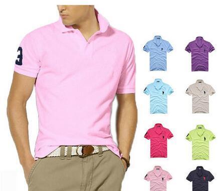 Escritório de Negócios Polo Homens Nova marca de roupa Sólidos Homens Big Cavalo bordado Polo Casual Poloshirt Cotton Qualidade RRRL