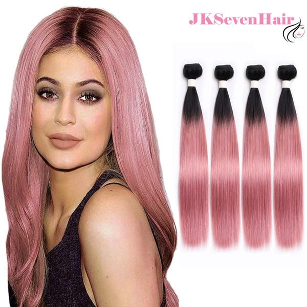 Gerades dunkles Wurzel-Rosa Ombre brasilianisches Jungfrau-Haar-Verlängerungs-4 Bündel Los 1B Rosa Rosen-Goldindische malaysische peruanische Haar-Einschlagfäden