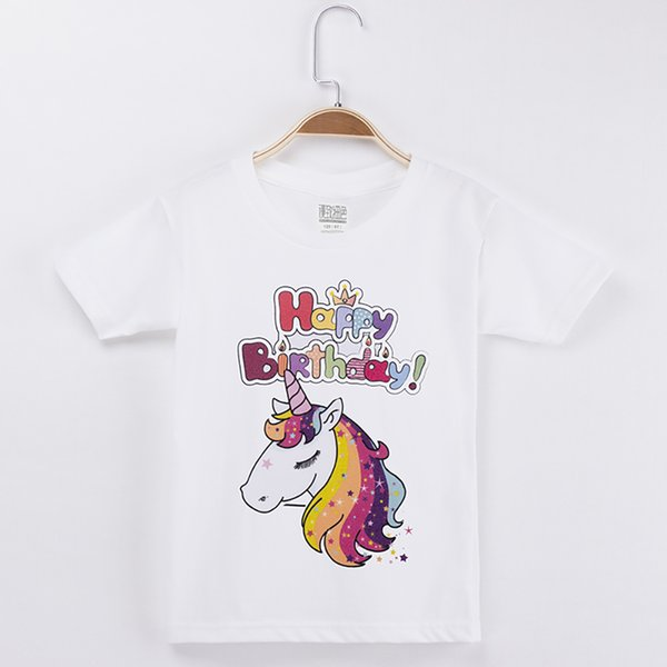2018 New Arrival Chidren Clothes Kids T-shirts Unicorn Happy Birthday 100% Cotton Chid Shirt Girls Short T Shirts Baby Girl Tops Teen Tee