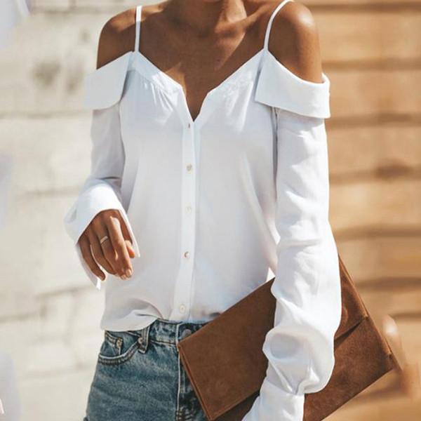 Sexy Off Epaules Sling Shirt Mode d'été col V Blouses à manches longues Slash Neck Pullover Tops Femininas WS8906U