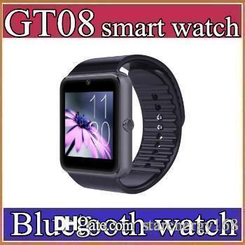 50X Beste Qualität Bluetooth Smart Uhr GT08 Für Android IOS iPhone Handgelenk Tragen Unterstützung Sync SIM / TF Karte Kamera Pedometer Schlaf Überwachung