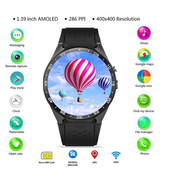 KW88 3G WIFI GPS Bluetooth Smart Watch Android 5.1 MTK6580 1.39 Inch 2.0MP Camera Smartwatch For Iphone Huawei Phone