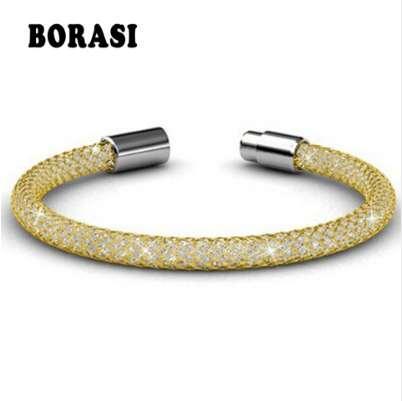 Hot Sell! Women Trendy Stianless Steel Bracelets Crystal Inside The Net Chain The Most Fashionable Bracelets