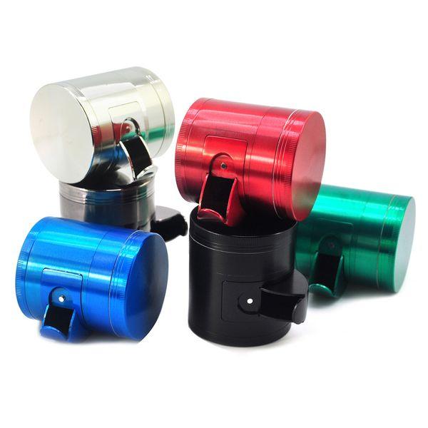 top popular wholesale 40mm 50mm 55mm 63mm side open cut tobacco grinder metal plat Concave custom herb grinder for smoking dry herb 2021