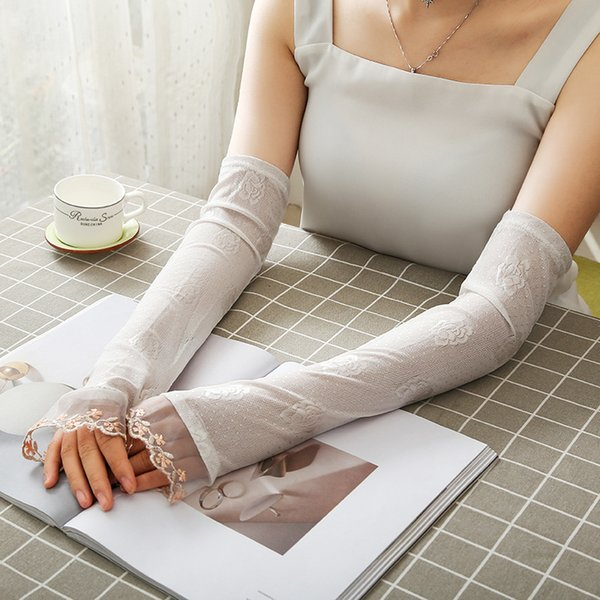 Summer UV Protection Arm Sleeves Women Sexy Lace Floral Sleeve Arm Warmers Scar Cover Long Fingerless Driving Gloves