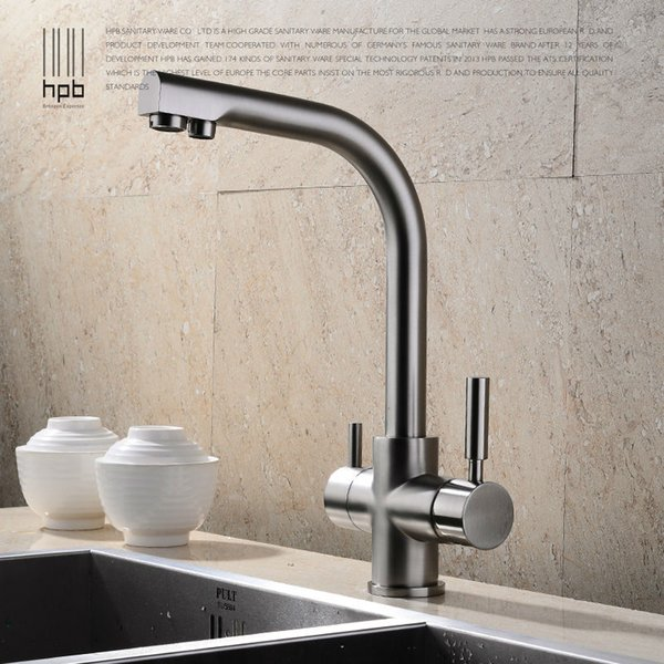 HPB Brass Chrome Brushed Polished Two Functions Kitchen Sink Mixer Faucet 2 Holes Drinking Water Tap torneira HP4302