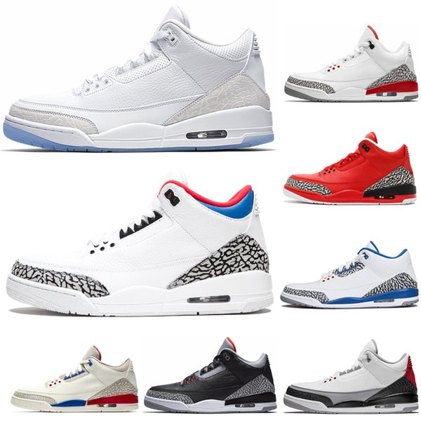 Sıcak satış yeni saf beyaz 3 s erkekler basketbol ayakkabı 3 Beyaz Mavi kore Uluslararası Uçuş Çimento Erkekler tasarımcı Spor Ayakkabı Sneaker boyutu ABD 8-13
