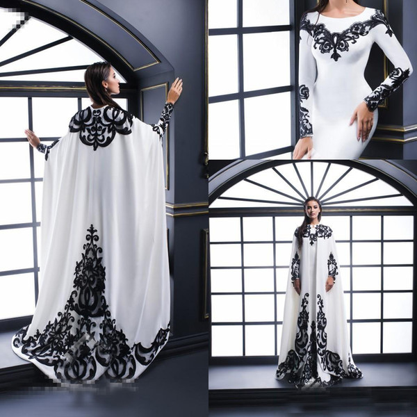 White Evening Dresses With Satin Black Lace Applique And Cape Long Sleeves Jewel Neck Formal Long Prom Dresses Party Gown Special Occasion