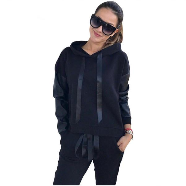 Women Casual Lace -Up Hoodies Sportswear Leather Patchwork Sets Split Side Zippers Tops Street -Wear 2 Piece Sets Suits Tracksuit Female