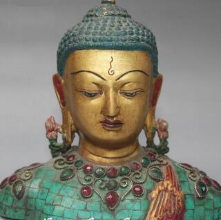 Tibet TuTibet TuTibet TuTibet Turquoise Bronze Inlay Gem Shakyamuni Sakyamuni Buddha Head Bust Statue