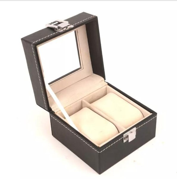 2 Grid PU Leather Black Watch Box Display Boxes Portable Lightweight Watch Storage Case Holder with Window Cosmetic Organizer Bag
