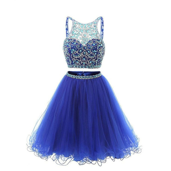 Real Photo 2018 Short Prom Homecoming Dress Two Piece Rhinestone Beaded Brilliant Sleeveless Low Back Cocktail Party Gowns for Juniors