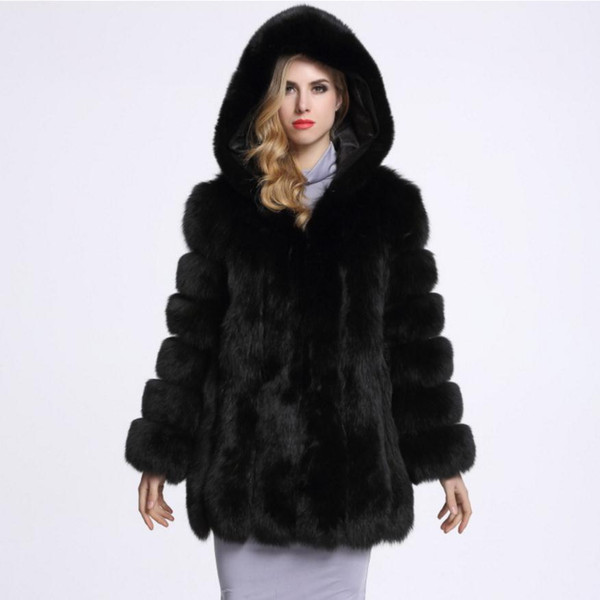 Großhandel 2018 Winter Neue Modemarke Gefälschte Fuchspelz Mit Kapuze Weichen Pelz Jacke Frauen Warme Dicker Warme Kunstpelz Mantel Wj1230wj Von Z04a,