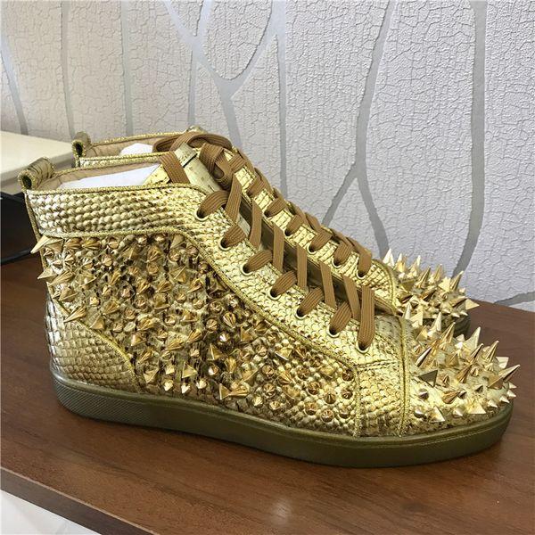 Envío gratis Casual Designer Sneakers Gold serpiente pitón tachonada mezcla picos pisos Low top encaje hasta zapatos botas cuero genuino FORMADORES