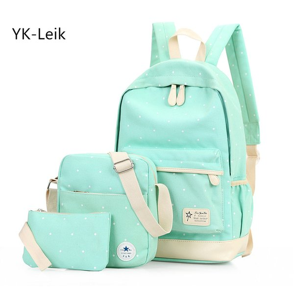 YK-Leik Fashion dots women backpack High quality canvas backpacks for teenage girls school backpack school bags mochila Y18110107