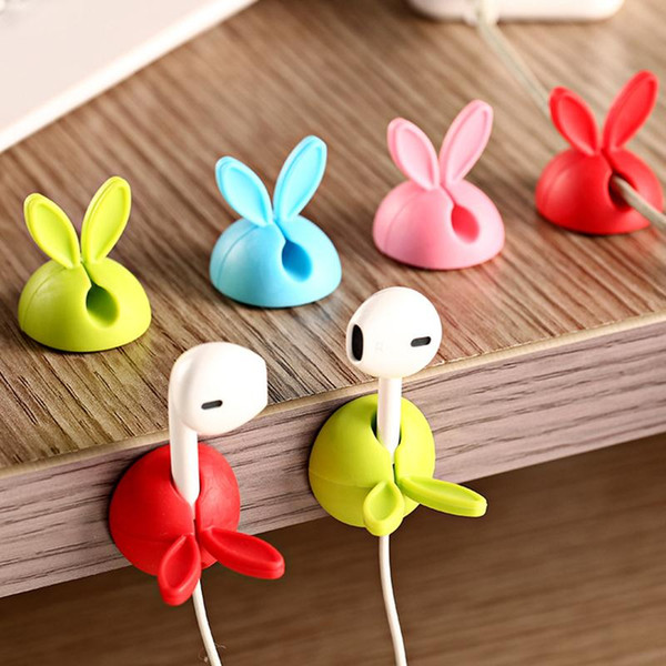 4pcs Candy Color Solid Desk Set Bobbin Winder Wrap Cord Cable Manager Lovely Rabbit Shaped Wire Clip Organizer