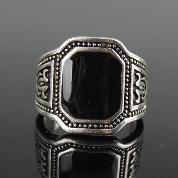 DreamBell Men Punk Style Retro Black Artificial Gem Ring Fashion Finger Rings for Men