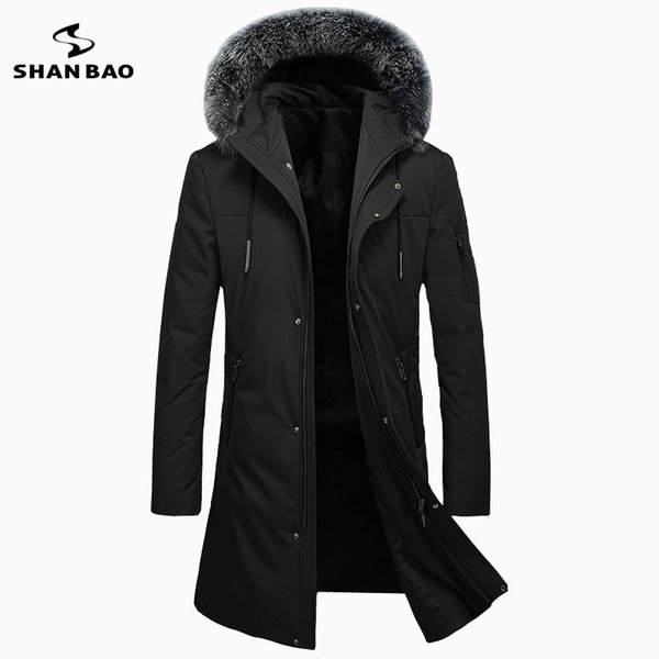 2017 winter thickening warm   fur long down jacket high quality  casual men's hooded down parka black green
