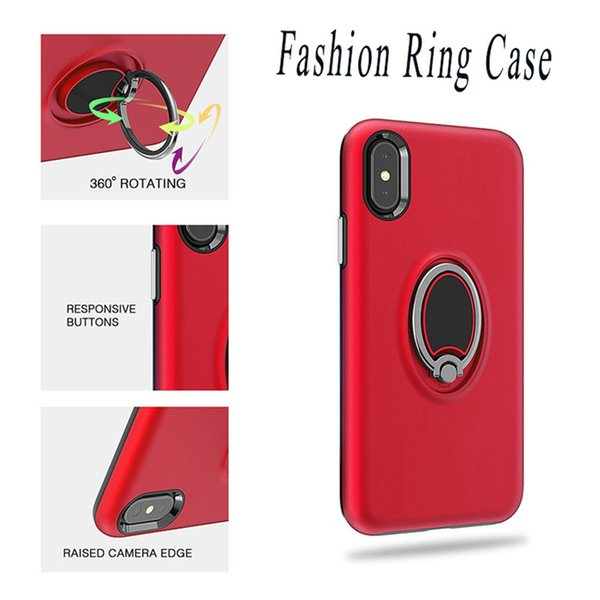 Bague Kickstand Case Fashion Defender Couverture simple pour iPhone X Xr Xs Max 8 7 6 Plus Sumsung S9 S8 Plus Note 8 9