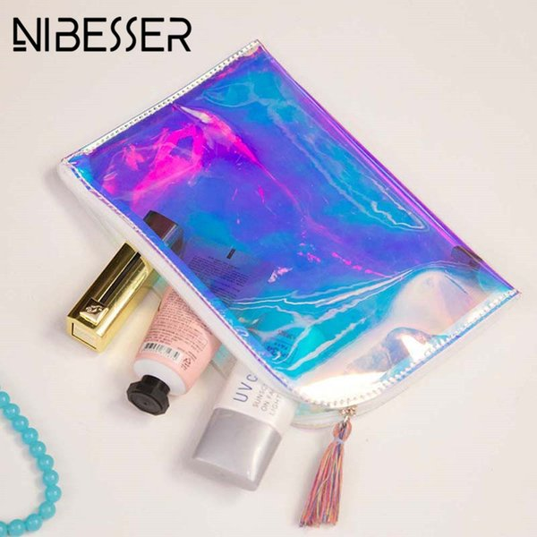 NIBESSER Holographic Transparent PVC Cosmetic Bags Womens Makeup Bag Hologram Laser Cosmetic Case Toiletry Portable Beauty Pouch