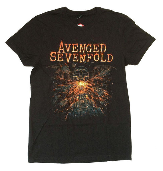 Vingado Sevenfold Fire Respiração Death Bat Camiseta Preta Novo Oficial A7X