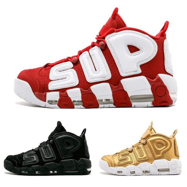 2019 Men Air more 96 QS Olympic Varsity Maroon Mens Basketball Shoes CHI black gold Airs 3M Scottie Pippen Uptempo Sports Sneakers