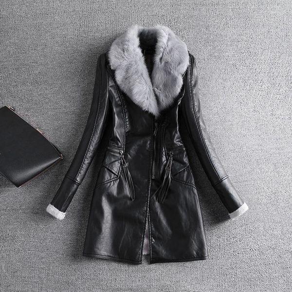New Fashion Women Warm Zipper Design Fleece Lining Rabbit Hairy Turn Down Fur Collar Windproof Black Pu Leather Long Coat